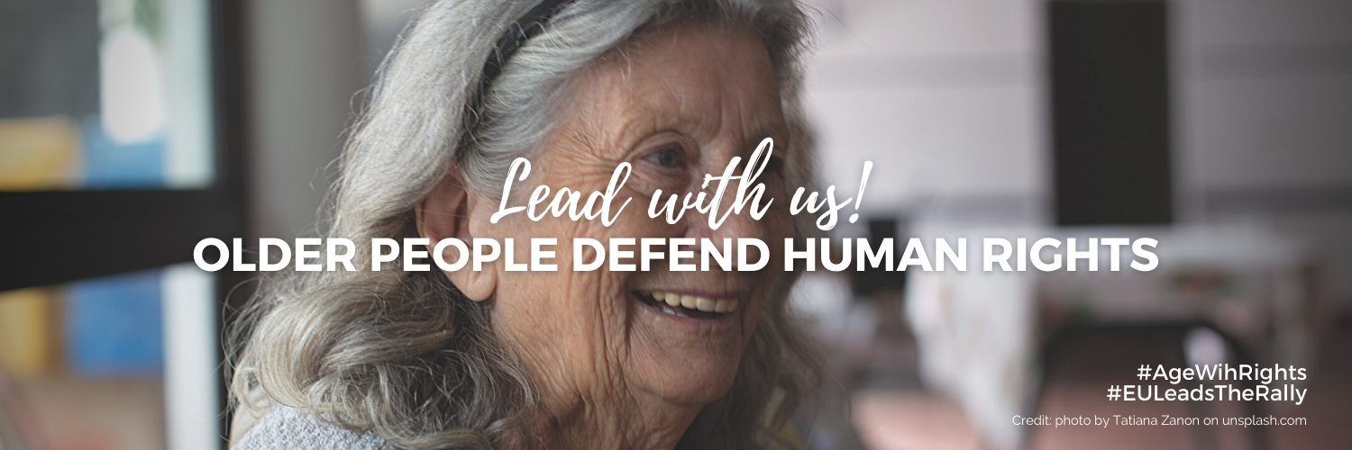 Banner reading 'Lead With Us: Older People Defend Human Rights'